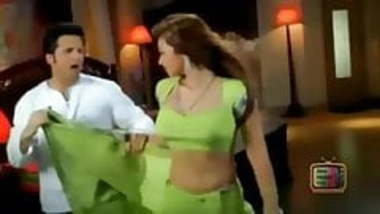 Ayesha Takia navel in green sari