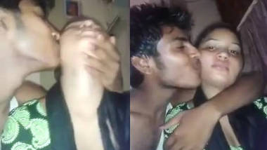 Desi Guy squeeze his cousin sister boobs n kisses her