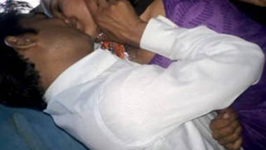 desi couple kissing purple salwar village