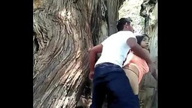 Excited Indian couple has spontaneous outdoor sex in XXX doggystyle